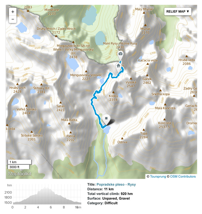 Hike from Popradske pleso to Rysy peak and back. Train/Bus to Poprad town.